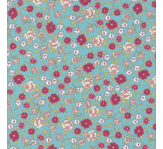Sweetheart Tiny Floral - Meadow Sweet - Aqua & Ruby